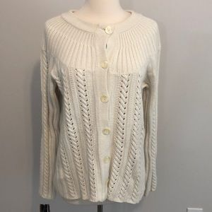 JJill Cardigan Size L Cream/Off White